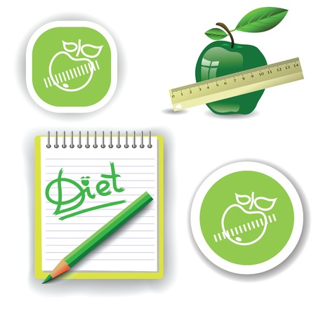 colorful illustration with diet icons for your design Stock Vector - 24183686