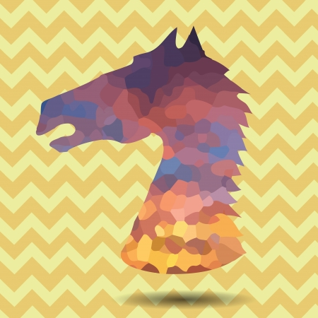 sprawl: colorful illustration with abstract head horse frame for your design