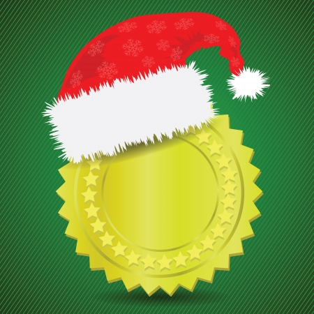 winter wheat: colorful illustration with  gold medal and Santa hat for your design Illustration