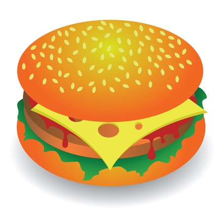 colorful illustration with hamburger for your design Vector