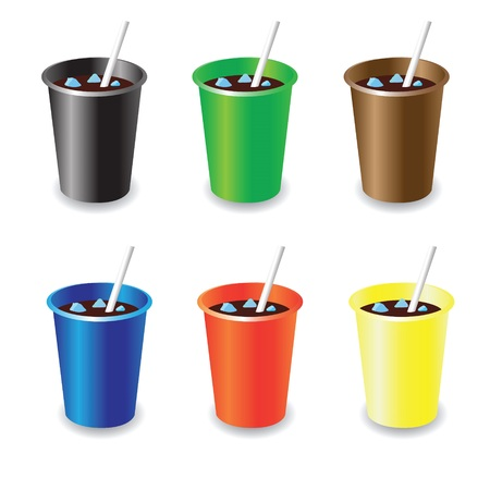 colorful illustration with cola cups Vector