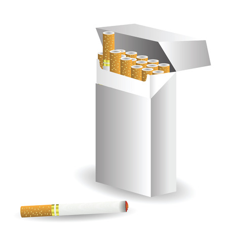 cigarette pack: colorful illustration with cigarettes  for your design