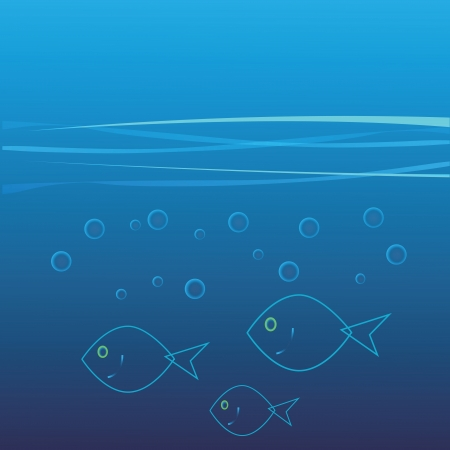 colorful illustration with  abstract blue fish for your design Vector