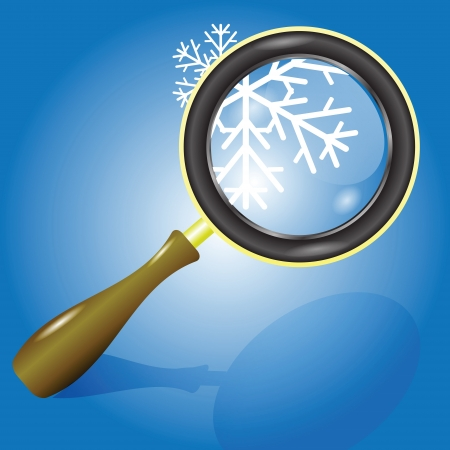 colorful illustration with  snow flake and magnifying glass for your design