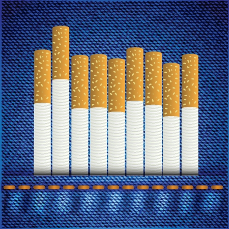 colorful illustration with cigarettes on blue jeans background for your design Stock Vector - 24824181
