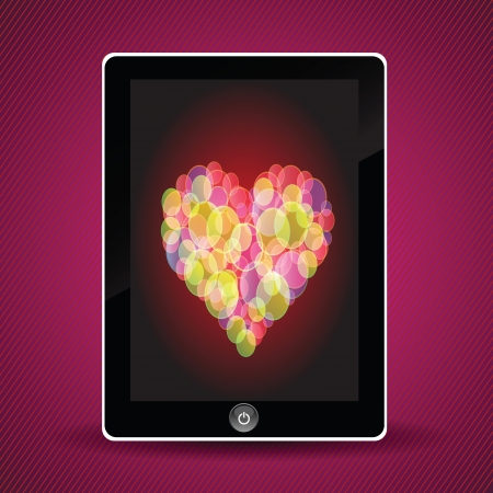 colorful illustration with tablet computer and heart for your design Vector