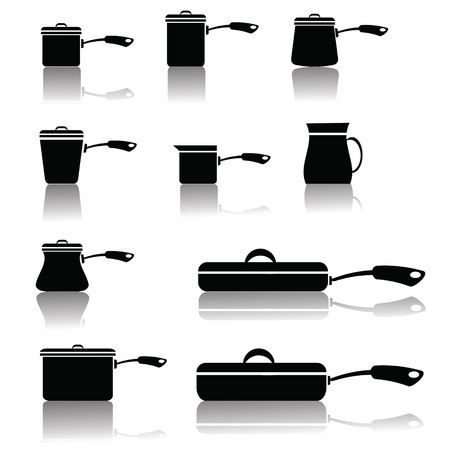 browning:  illustration with set of pots and pans for your design