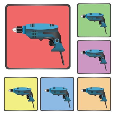 hole puncher: colorful illustration with  icons of drill  for your design