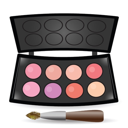 eyeshadow: colorful illustration with eyeshadow palette for your design