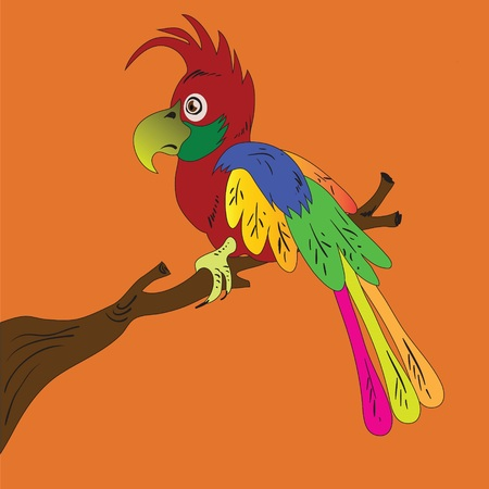 colorful illustration with parrot for your design Illustration