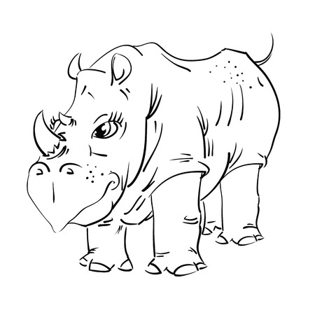 illustration with big rhinoceros  for your design Vector