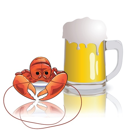 colorful illustration with lobster and mug of beer for your design Vector