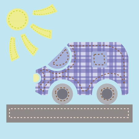colorful illustration with old car for your design