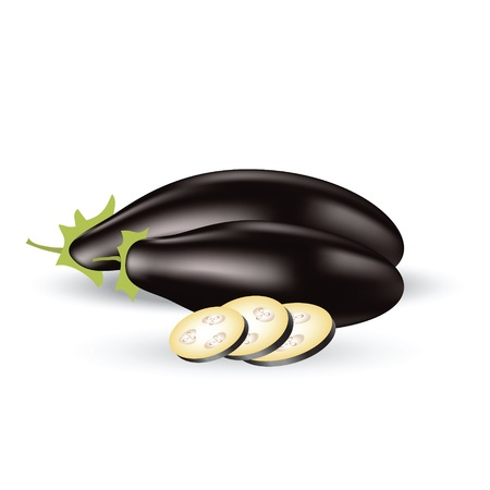 colorful illustration with eggplant for your design
