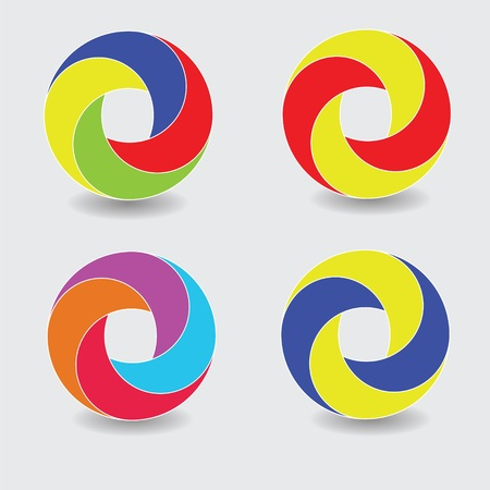 colorful illustration with set of round icons for your design