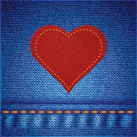 colorful illustration with red heart on blue jeans background for your design
