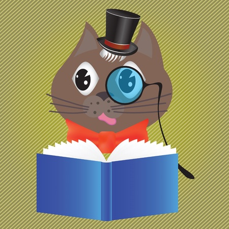 colorful illustration with cat reading a book for your design Illustration