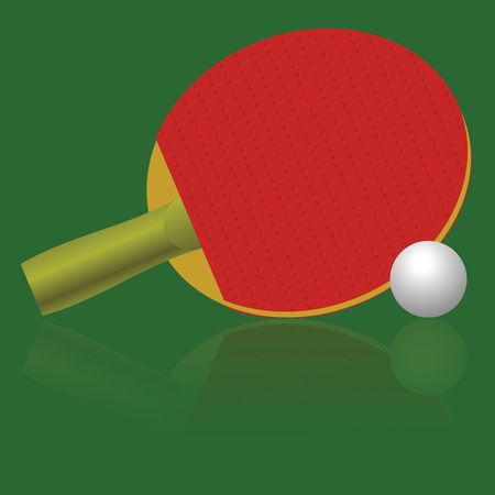 colorful illustration with table tennis racket and ball for your design Vector