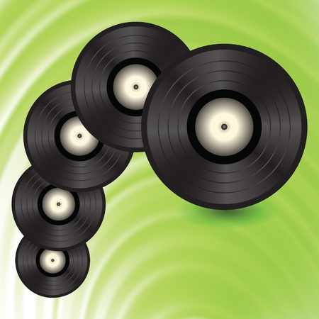 disk jockey: colorful illustration with vinyll records on a green wave background for your design Illustration
