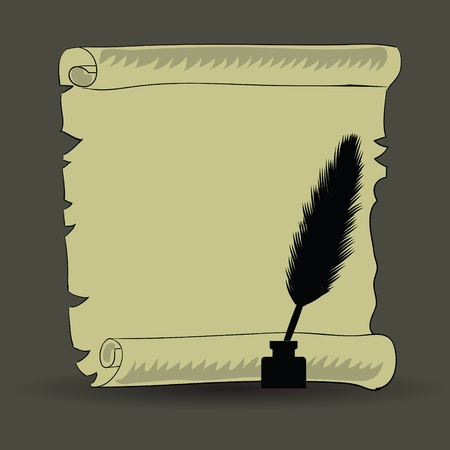 colorful illustration with old paper and feather for your design Vector