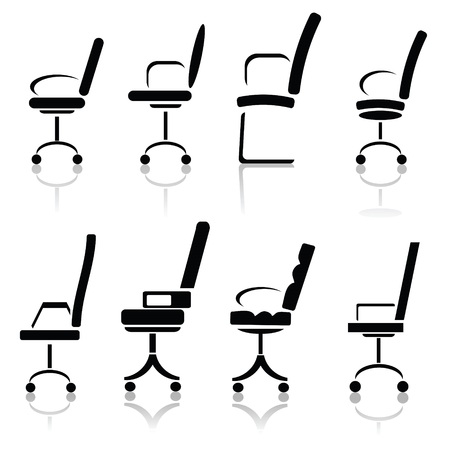 ergonomic:  illustration with silhouettes of office chairsl  Illustration