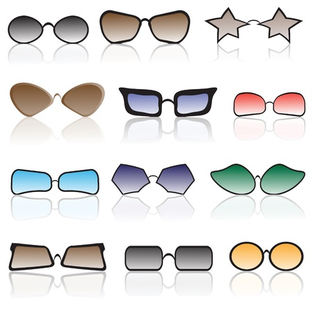 corrective: colorful illustration with set of glasses
