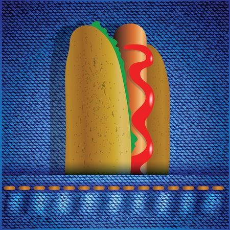 colorful illustration with hot dog on a blue cotton  Vector