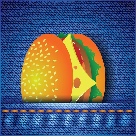 colorful illustration with hamburger on a blue  Illustration