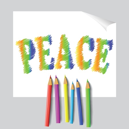 colorful illustration with peace paint and pencils for design Illustration