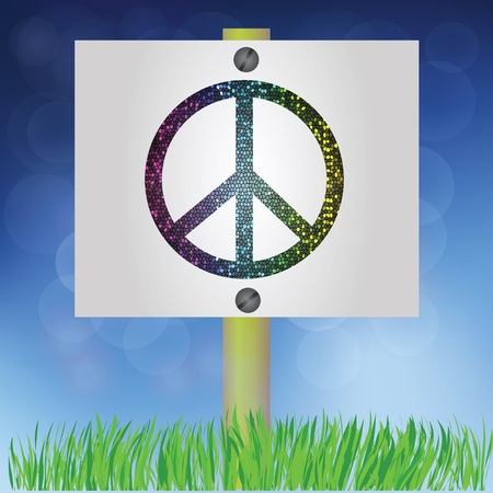 colorful illustration with peace sign for design Vector