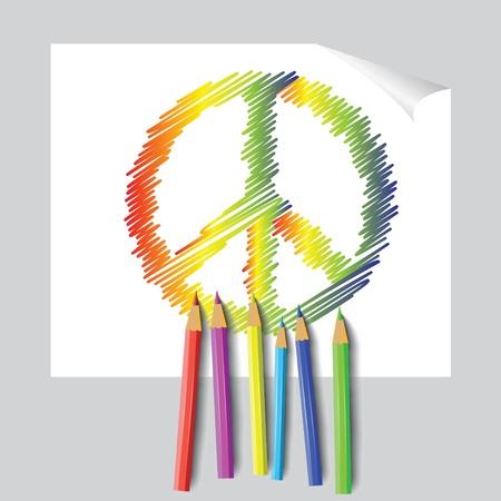 colorful illustration with  peace emblem for design Illustration