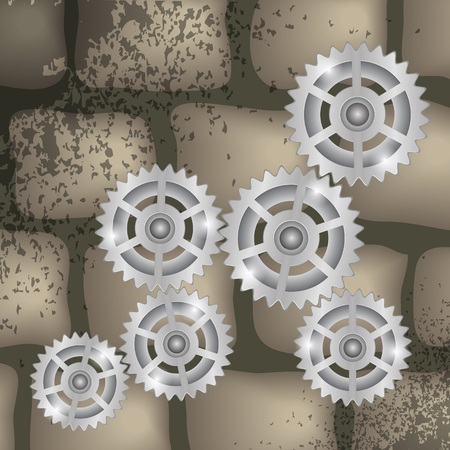 robotic transmission: colorful illustration with gears on a brick background for design