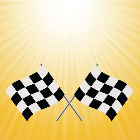 two crossed checkered flags: colorful illustration with checkered flags on a sun background for design