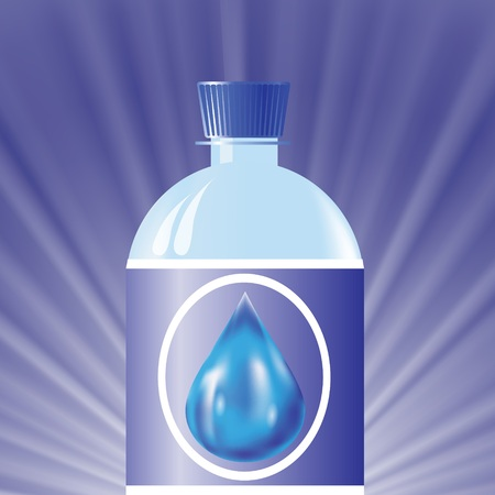 colorful illustration with  plastic bottle with water on a blue wave background for design Vector
