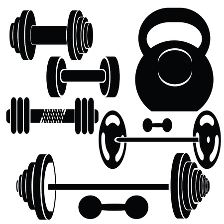 colorful illustration with silhouettes of weights  on a white background for your design Vector