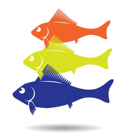 trawl: colorful illustration with fish symbol for design