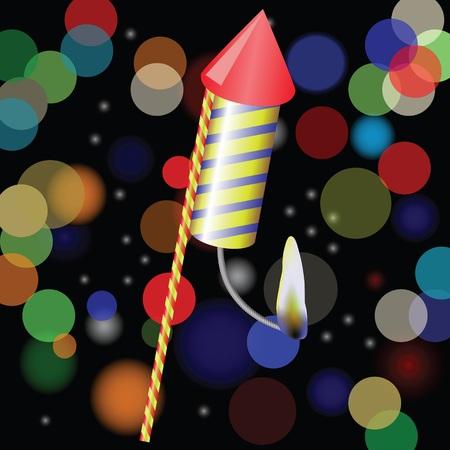petard: colorful illustration with petard on a blurred  background for design Illustration