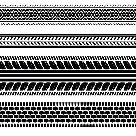 tire imprint:  illustration with  imprints tires on a white background  for  design Illustration