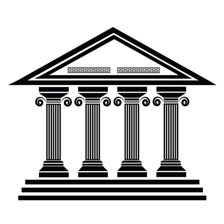 silhouettes of ancient columns on a white background Illustration