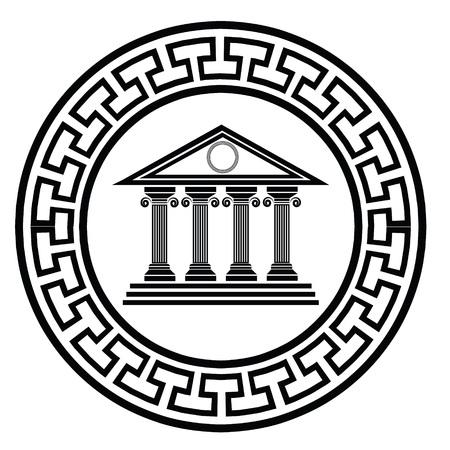 ギリシャの古い寺院の設計のための白い背景の上にカラフルなイラスト