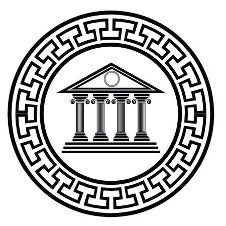 colorful illustration with  greek old temple on a white background  for your design