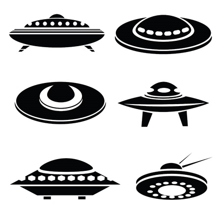 illustration withsilhouettes of spaceships on a white background for your design Illustration