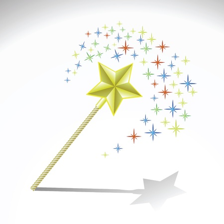 thaumaturge: colorful illustration with magic wand for your design Stock Photo