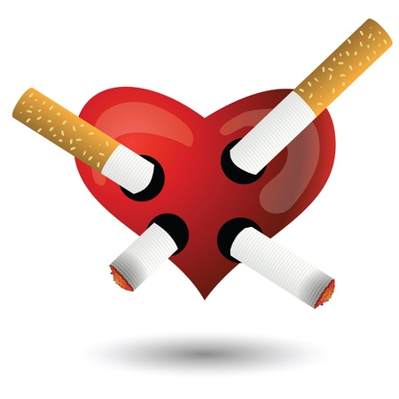 colorful illustration with red heart and cigarettes for your design