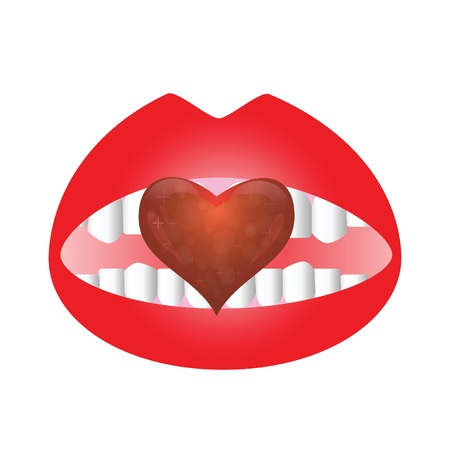 colorful illustration with mouth and heart for your design illustration