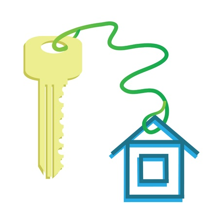 keyholder: colorful illustration with key for your design