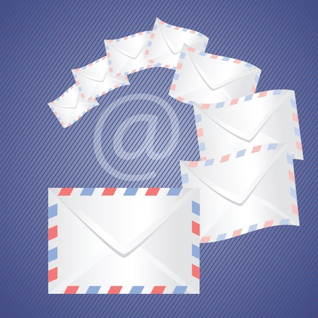 chatbox: colorful illustration with white detailed envelopes  for your design Stock Photo