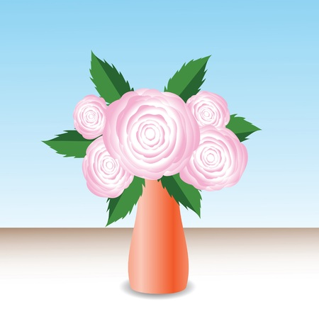 centifolia: colorful illustration with pink roses for your design