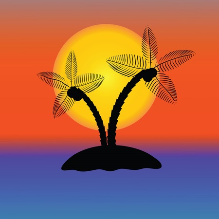 sunup: colorful illustration with Palm Tree Silhouette  for your design