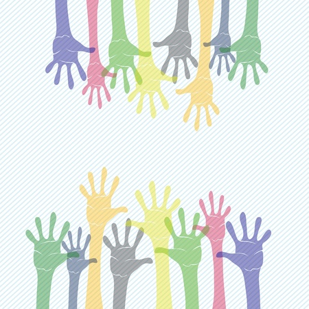 colorful illustration with  hands for your design illustration